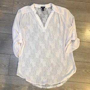 Rue 21 cream lace back blouse